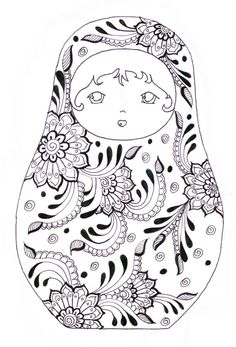 Discover our gallery of coloring pages inspired by Russian dolls. They are also called Matryoshka. Did you know that this decorative object appeared in the late century and was inspired by dolls from Honshu, the main . Adult Coloring Pages, Printable Coloring Pages, Coloring Sheets, Coloring Books, Free Coloring, Kids Coloring, Matryoshka Doll, Digi Stamps, Embroidery Patterns