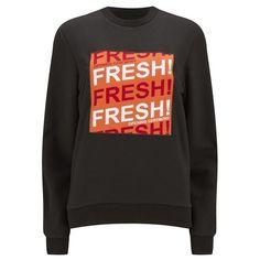 Opening Ceremony Women's OC Fresh Crew Neck Sweatshirt - Black/Multi ($255) ❤ liked on Polyvore featuring tops, hoodies, sweatshirts, long sleeve sweatshirt, long sleeve tops, relaxed fit tops, black sweat shirt and opening ceremony