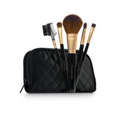 This multi-purpose five-piece set of professional brushes offers everything you need for a flawless makeup application. Includes 5-luxe brushes for face, eyes and cheeks. In a black quilted satin case.