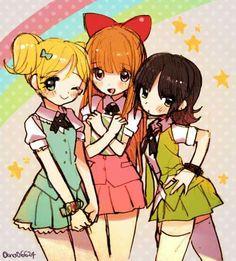 Disney & Cartoon In Anime - CN - The Powerpuff Girl - Wattpad Cartoon Cartoon, Powerpuff Girls Cartoon, Blossom Bubbles And Buttercup, Super Nana, Ppg And Rrb, Anime Version, Disney Cartoons, Magical Girl, Kawaii Anime