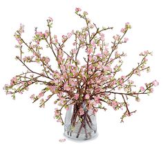 Quince Bouquet: A dozen delicate pink natural-looking blooming Ouince branches are arranged with clear acrylic solution in large 9.5
