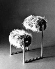 Furry chair designed by Italian designer Nanda Vigo in 1971