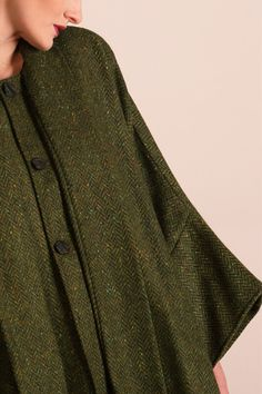 Stunning flecks of colour run through this authentic Donegal Tweed cape. Designed and woven in Donegal, Ireland. #donegaltweed #cape #wool #tweed #irishfashion #wearingirish Wool Poncho, Wool Cape, Irish Fashion, Capes For Women, Donegal, Shawls, Tweed, Ireland, Women Wear