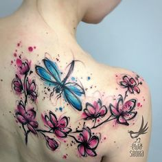 Cherry blossom and dragonfly tattoo back tattoos тату Butterfly Tattoo Cover Up, Butterfly Tattoos For Women, Flower Tattoo Back, Butterfly Tattoo Designs, Dragonfly Tattoo, Back Tattoo, Lotus Tattoo, Flower Tattoos, Hand Tattoos