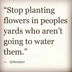 Stop planting flowers in peoples yards who aren't going to water them. Via http://feelingandloving.tumblr.com/