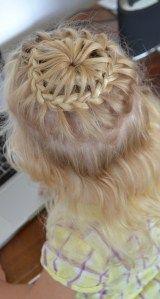 lace braid headband into starburst braid half up do