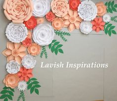 Large Paper Flowers Backdrop Wedding Arch от LavishInspirations