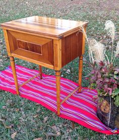 1956 Sears and Roebuck Sewing Machine Cabinet - All hardware and the machine were removed creating a pretty table -