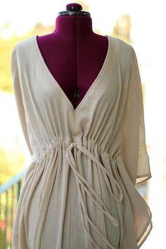 May just order 1 in every color for summer. Caftan Dress in Ivory Cotton Gauze by mademoisellemermaid on Etsy, $68.00
