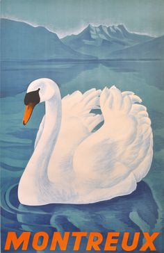L. Besson, swan poster for Montreux, 1943