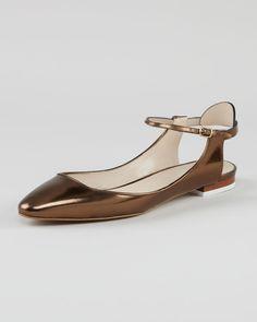 Chloe Open-Heel Metallic Leather Flat, Gold - Neiman Marcus