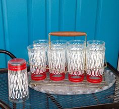 FREE SHIPPING-Vintage-Set of 9-Retro Red and by ellansrelics02