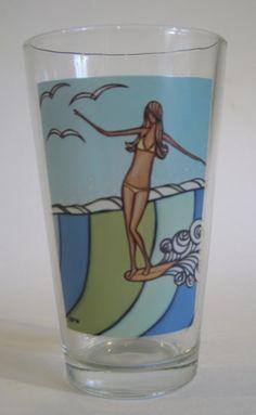 Sea Siren Pint Glass by Heather Brown Surf Art