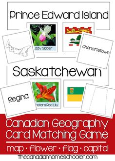 Canadian geography card game - Match the flag, flower, capital, and map to the right province/territory. Geography Games For Kids, Geography Activities, Teaching Geography, World Geography, Teaching History, History Education, American History Lessons, Canadian History, All About Canada