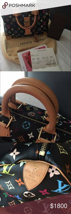Louis Vuitton multi color speedy 30 Immaculate Louis, gently cared for. 100% authentic Louis speedy 30 multi color monogram black canvas bag. Classic and will never go out of style. Comes with the original key attached to the bag and open the top zipper lock shown in picture. Comes with original dust bag. Super clean inside and out. Also including a nice watch case. For more questions please ask. Thank you for stopping by. Louis Vuitton Bags Shoulder Bags