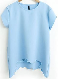 Blue Short Sleeve Asymmetrical Loose T-Shirt pictures