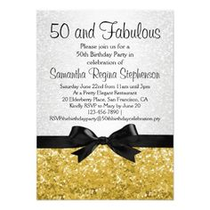 Gold Sparkle-look Bow Graduation invitation, elegant and feminine party invitation for her on her fabulous 50th birthday. Glittery sparkly white and gold pattern print backdrop with a faux black bow. Stylish and classy for a fancy formal soiree or a casually fun get-together.
