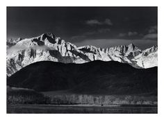 "Ansel Adams' stunning black-and-white photography inspired Dave Brubeck's new piece, ""Ansel Adams: America."" Pictured here: Winter Sunrise, the Sierra Nevada from Lone Pine, California The Ansel Adams Publishing Rights Trust. Ansel Adams Photography, Photography Lessons, Nature Photography, Golf Photography, Creative Photography, Photography Wallpapers, Classic Photography, Popular Photography, Vintage Photography"