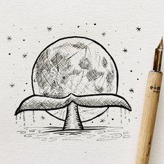 Pencil Drawing Tutorials Inktober Drawing - Moon Fluke - Daily ink drawings from Inktober Easy Pencil Drawings, Pencil Drawing Tutorials, Sketchbook Drawings, Doodle Drawings, Cartoon Drawings, Drawing Sketches, Disney Drawings, Cute Drawings Tumblr, Drawing Tips