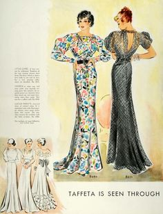 McCall's 1935 patterns | McCall 8280 (by Lucile Paray) and 8271 30s sewing fashion style design evening gown formal wear long dress floral black puff sleeves