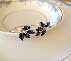 Navy blue Swarovski bracelet, gold, rose gold, bridal bracelet, Wedding jewelry, wedding bracelet, open bangle, bridesmaid gift