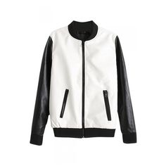 White and Black Contrast Stand Up Collar Zippered PU Baseball Jacket (1.675 RUB) ❤ liked on Polyvore featuring outerwear, jackets, black and white jacket, polyurethane jacket, standing collar jacket, white and black jacket and zipper jacket