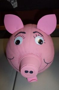Pig Pumpkin- Pig Pumpkin - Hotglue a paper cup to the pumpkin and paint everything a pleasing shade of pink. Add pink felt ears and tongue, large google eyes and other facial features as desired.