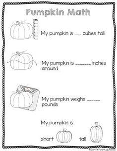 pumpkin math, investigating pumpkins in kindergarten Fall Preschool, Kindergarten Science, Teaching Math, Montessori Kindergarten, Preschool Class, Teaching Ideas, Homeschool Math, Homeschooling, 2 Kind
