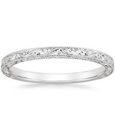 Diamond Wedding Band pic - This stunning antique-style wedding band is adorned with floral-inspired hand engravings and milgrained borders for a refined, romantic style. Antique Wedding Rings, Wedding Rings Simple, Wedding Rings For Women, Vintage Engagement Rings, Vintage Rings, Wedding Bands, Vintage Style, Simple Rings, Engagement Bands