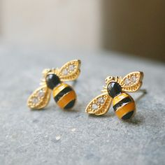 Bumble Bee Earrings so lovely  | Call A1 Bee Specialists in Bloomfield Hills, MI today at (248) 467-4849 to schedule an appointment if you've got a stinging insect problem around your house or place of business! You can also visit www.a1beespecialists.com!