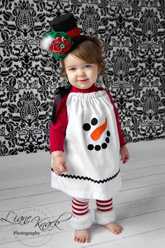 Snowman Pillowcase Dress Christmas Holiday Winter. $28.00, via Etsy.
