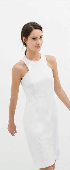 Via Zara | White Halter Dress | Chic Minimal Fashion