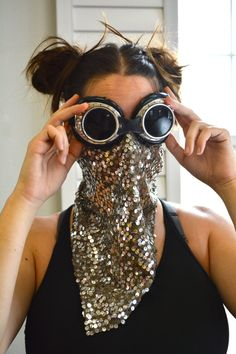 960a01d8a1ff Sequined Burning Man Face Mask Burning Man Outfits
