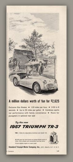 1957 Triumph TR-3 sports car vintage magazine by catchingcanaries