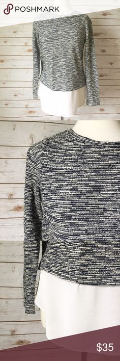 """BCBGeneration Bouclé Mixed Media Top Feminine and chic bouclé mixed media top by BCBGeneration in black and white hues. • 28"""" long  • 19"""" pit to pit • 16"""" shoulder to shoulder • 16"""" sleeve length • In great condition  🚭 Smoke-free home 📬 Ships by next day 💲 Price negotiable  🔁 Open to trades BCBGeneration Tops Blouses"""
