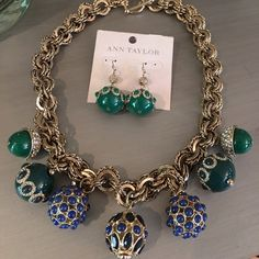 Ann Taylor Blue Green Necklace Earrings Enamel NWT $68 & $38 Ann Taylor Jewelry Necklaces