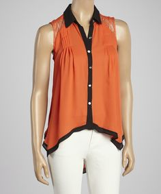 Loving this Orange & Black Lace Hi-Low Sleeveless Button-Up on #zulily! #zulilyfinds