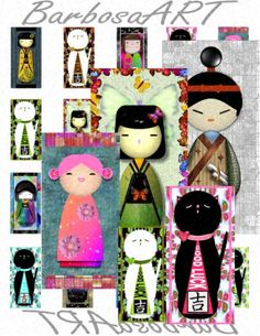 Free Printable Collage Sheets | Download and Print CREATIVE JAPANESE KOKESHI DOLLS with Good Luck Cats ...