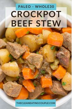 This Healthy Paleo Beef Stew Recipe is an easy dinner that your whole family will love! Gluten free, whole30 friendly + made in the slow cooker or on the stovetop! You can make this with sweet potatoes or chicken too - either way is delicious! #paleo #whole30 #crockpot #slowcooker Paleo Recipes Easy, Clean Eating Recipes, Crockpot Recipes, Whole30 Recipes, Paleo Diet Plan, Paleo Menu, Diet Plans, Sugar Free Bacon, Dinner Bowls