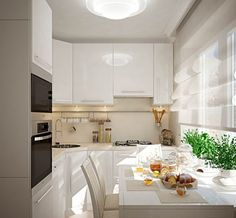 маленькая кухня в белых тонах