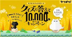 1等10,000ポイントが当たる。ハズレてもエントリーした人全員で822,500ポイント山分け、ヤフネコ!パックリリースキャンペン開催!