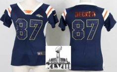 Women Nike Denver Broncos 87 Eric Decker Blue Handwork Sequin Name Fashion 2014 Super Bowl XLVIII NFL Jerseys