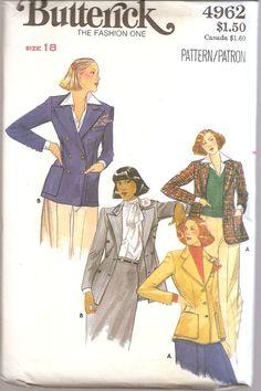 1970s Blazer Jacket Butterick Misses Pattern Uncut by SelmaLee, $6.00
