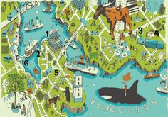 a) I want to go to Vancouver.   b) I love cartoony maps with oversized animals on them.
