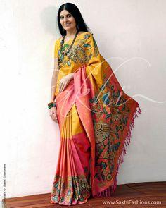 A stunning Kanchivaram Silk saree featuring elaborate Kalamkari work in Half n Half concept. Sambalpuri Saree, Kalamkari Saree, Sari, Saree Dress, Saree 2017, Kalamkari Dresses, Indian Attire, Indian Ethnic Wear, Indian Dresses