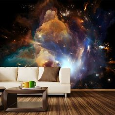 "Home may be where the heart is, but outer space adventure is where the soul lies. This lovely piece evokes feelings of endlessness and is perfect for permanent or temporary decorating. Available in 3 sizes: 5 panels (100 inches wide) 7 panels (140 inches wide) 9 panels (180 inches wide) Each panel is 20"" wide by 100"" tall. Please Note: The mural image remains the same, and is merely cropped depending on the size you choose. The 9 panel size is the full image. The 7 panel, and 5 panel ..."