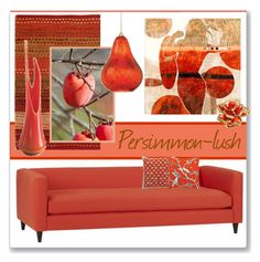 """Persimmon-lush"" by stephlo-1 ❤ liked on Polyvore featuring interior, interiors, interior design, home, home decor, interior decorating, DwellStudio, Cost Plus World Market, The Artwork Factory and Oscar de la Renta"