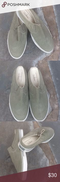 LLBean NWOT Sun🌞Washed Canvas Deck Shoes⚓️ Green Great durable & comfortable LL Bean Canvas Slip On. ⛵️Hit the deck in these with a cute little skirt or clam diggers. NWOT. ⚓️ L.L. Bean Shoes Sneakers