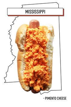 Mississippi: Pimento Cheese Pimento cheese can be found all over the country: It's at once a dip, a sauce, and melty cheese. But nowhere does this multi-tasker shine like it does as a hot dog topping. Hot Dog Recipes, Beef Recipes, Recipies, Italian Hot Dog, Bacon Hot Dogs, Can Dogs Eat Tomatoes, Sushi, Green Tomato Recipes, Hot Dog Toppings
