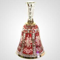 Engraved Bohemian Glass Bell